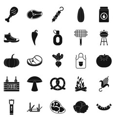 fried meat icons set simple style vector image