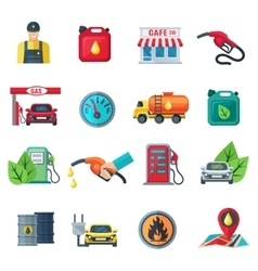 Gas station color icons set vector