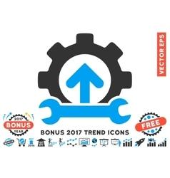 Gear integration tools flat icon with 2017 bonus vector