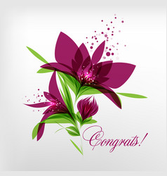 Greeting card flowers on white background vector