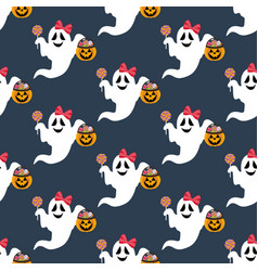 halloween ghost pattern vector image
