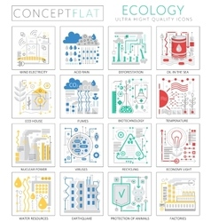 Infographics mini concept green ecology icons for vector