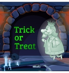 King Ghost in the castle and text trick or treat vector image vector image
