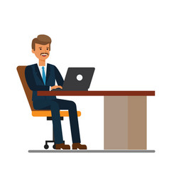 manager working at laptop cartoon flat vector image vector image