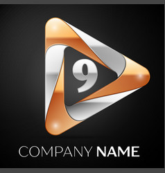 Number nine logo symbol in the colorful triangle vector
