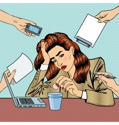 Pop Art Business Woman Drinking Pills at Office vector image vector image