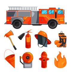 Protective clothing of fireman boots helmet axe vector