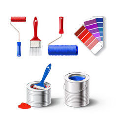 Realistick set of paint tools vector