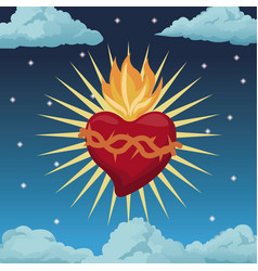 Sacred heart blessed night background vector