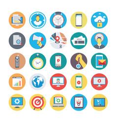 seo and marketing flat circular icons 2 vector image vector image