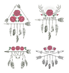 set of hand drawn boho style design with rose vector image vector image
