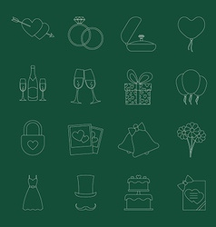 Set of wedding icons vector