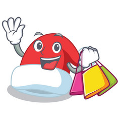 shopping christmas hat character cartoon vector image