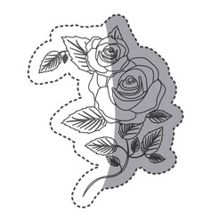 Silhouette roses with squere petals and leaves vector