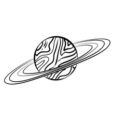 sketch saturn icon vector image vector image