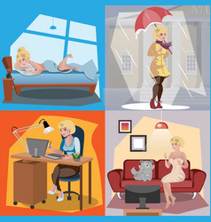 the daily routine of a woman vector image