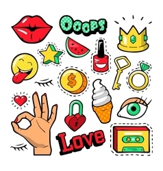 Fashion badges patches stickers lips heart vector