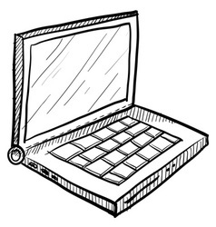 doodle laptop computer vector image