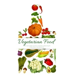 Vegetarian food poster with vegetables vector