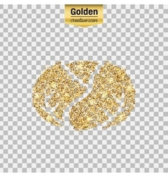 Gold glitter icon of cabbage isolated on vector