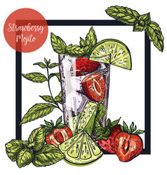 Square framed card with strawberry mojito vector