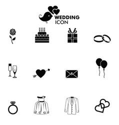 Wedding icons set vector
