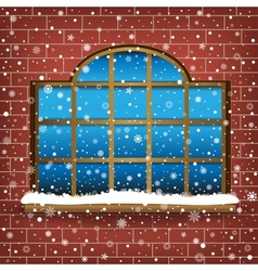 Large window and snow vector