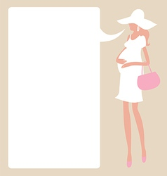 Design with young fashionable pregnant woman vector