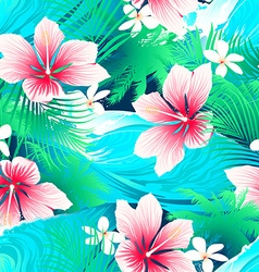 Tropical white hibiscus flowers with green leaves vector