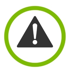Warning flat eco green and gray colors rounded vector