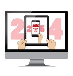 New year 2016 isolation man hand holding the phone vector