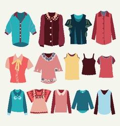 Fashion shirts set fashion womens shirts vector