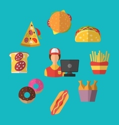 Set Fast Food Flat Icons with Cashier Seller vector image