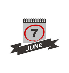 7 june calendar with ribbon vector