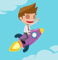 Man worker go fly rocket vector
