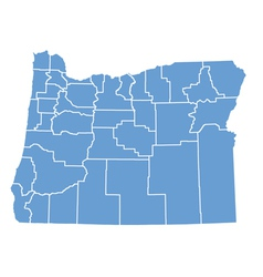 State map of Oregon by counties vector image