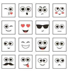Set of square smiley faces vector