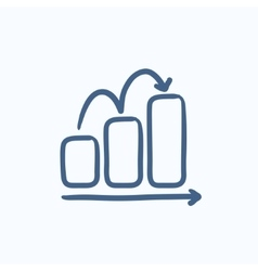 Bar chart upward sketch icon vector