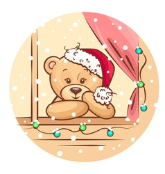 Christmas teddy vector