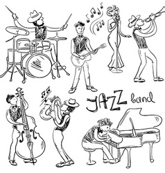 Set of isolated sketch jazz musicians vector
