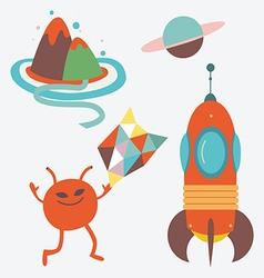 Alien cartoons parts vector image vector image
