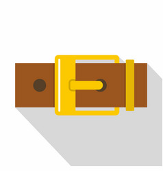 Belt with yellow square buckle icon flat style vector