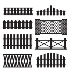 Big set of wooden fence silhouette vector image vector image
