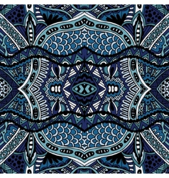 Blue oriental ethnic seamless pattern design vector