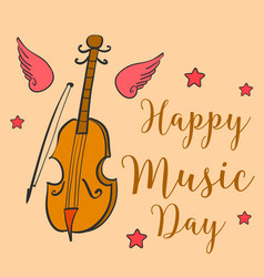 Card style music day celebration vector
