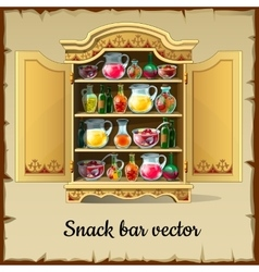 Cartoon cabinet buffet with drinks and dishes vector