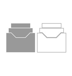 documents archieve or drawer icon grey set vector image