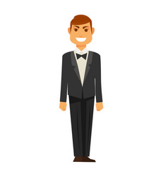 elegant man in tuxedo with bowtie isolated vector image vector image