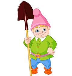 Garden Gnome with shovel vector image