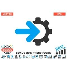 Gear integration flat icon with 2017 bonus trend vector